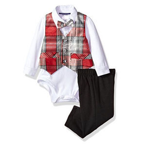 Bonnie Baby Baby Boys Plaid Vest Bow Tie Outfit